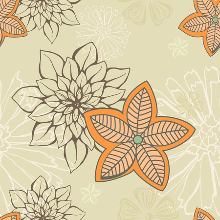 paper background: Colorful floral seamless background with hand drawn flowers