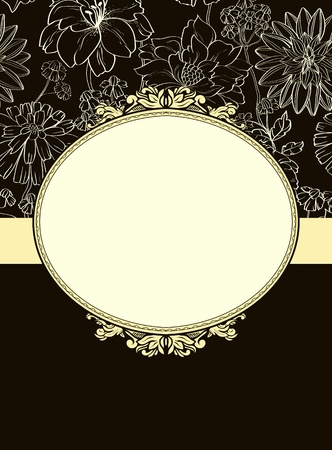 Vintage frame with floral elements in retro style Illustration