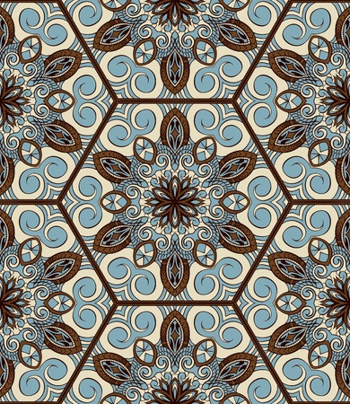 Abstract color seamless wallpaper in ethnic style Vector