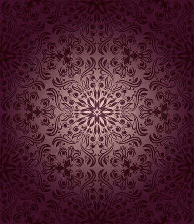 Vintage seamless wallpaper with floral elements on gradient background