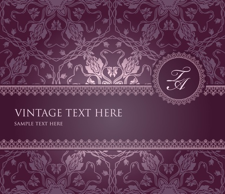 Vintage frame on seamless bacjground with floral elemnts Vector