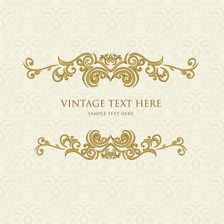 gold floral: Vintage frame with floral alement on damask background Illustration