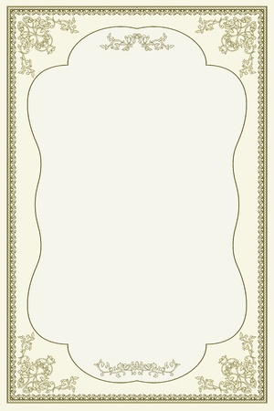 vintage retro frame: vintage frame with floral elements. Perfecto for diploma or certificate