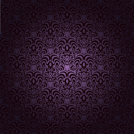 Damask seamless pattern with lot of elements on gradient background