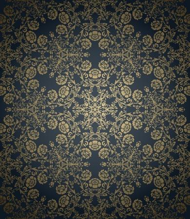 Vintage papier peint sans soudure avec les éléments floraux sur fond dégradé Banque d'images - 11500352