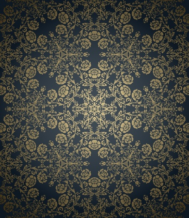 baroque: Vintage seamless wallpaper with floral elements on gradient background