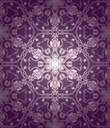 Vintage seamless wallpaper with floral elements on gradient background Vector