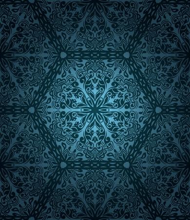 arabesque wallpaper: Abstract pattern senza soluzione di continuit� con elementi floreali su sfondo blu sfumato