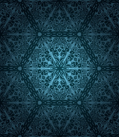 arabesque antique: Abstract seamless pattern with floral elements on blue gradient background Illustration