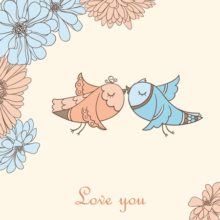 hand drawn wings: Cute valentine background with kissing birds