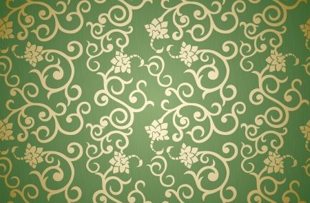 Floral seamless pattern in retro style on green background Vector
