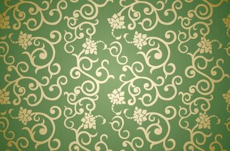 papel tapiz: Patr�n floral transparente en estilo retro sobre fondo verde Vectores