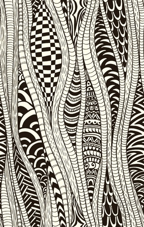 ethnic pattern: Fantasy ethnic seamless pattern. Hand drawn. Artistic.