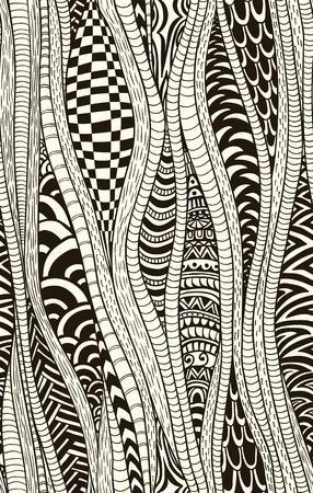 Fantasy ethnic seamless pattern. Hand drawn. Artistic.
