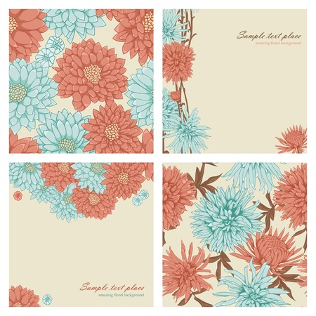 Set of floral backgrounds and seamless patterns Vector
