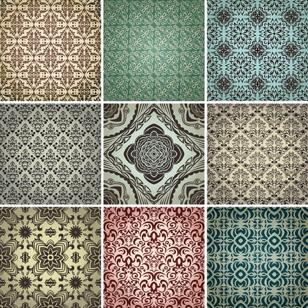 set of 9 seamless patterns in retro style. Ilustração
