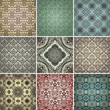 set van 9 naadloze patronen in retro stijl.