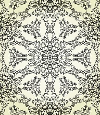 Naadloze patroon in retro stijl. Gestileerde kant. Stock Illustratie