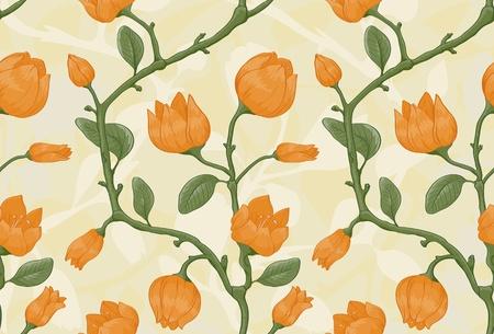 Floral nahtlose Muster auf beigem Hintergrund mit gelben Blüten Standard-Bild - 11500342