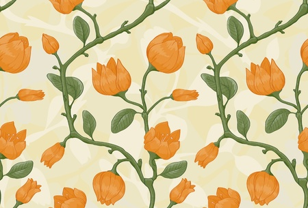 textile image:  Floral seamless pattern on beige background with yellow flowers Illustration