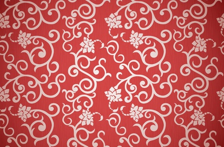 Floral seamless pattern in retro style on red background Vector
