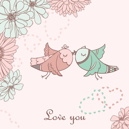Cute valentine background with kissing birds