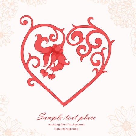 Floral background with vintage frame. Perfect for valentine card Stock fotó - 11657987