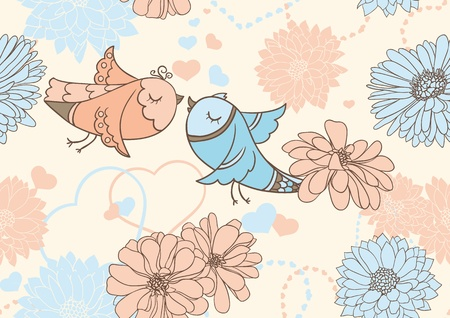 Cute valentine seamless background with kissing birds Vector