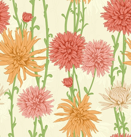 floral ornaments: Floral seamless pattern with hand drawn flowers