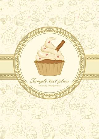 cupcake: Cadre �l�gant sur le papier peint transparente avec petit g�teau