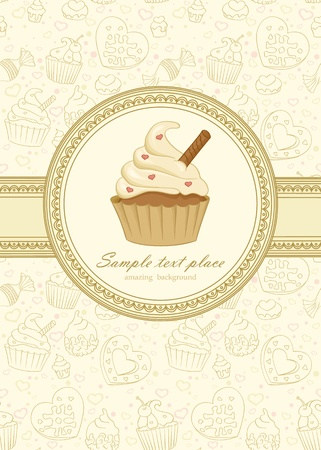 Elegant frame on seamless wallpaper with cupcake Vettoriali