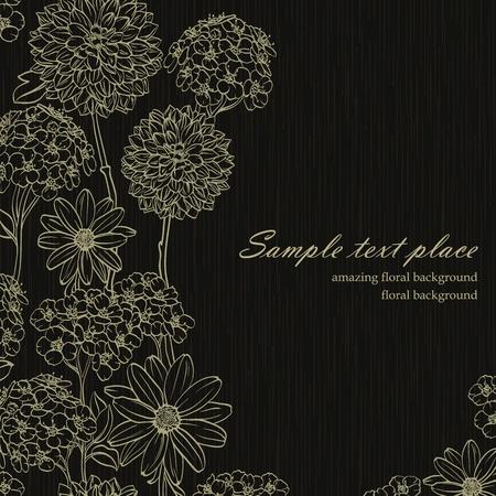 Bloemen achtergrond met de hand getekende bloemen. Stock Illustratie
