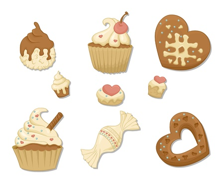 Cakes,Cup cakes, candies, Sweet set with hearts Vector