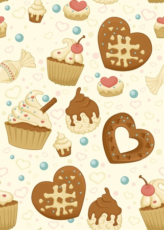 bake: Seamless pattern with cupcakes,candiesn and other sweet and tasty food