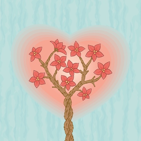 Two sakuras love each other with blossom flowers and heart shape Vectores