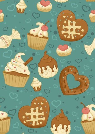 cupcake illustration: Seamless pattern with cupcakes,candies and other sweet and tasty food