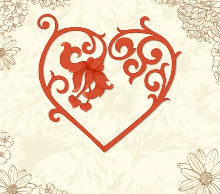 Floral background with vintage frame. Perfect for valentine card Vector