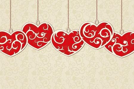 Vintage achtergrond met elegante rode harten en naadloze achtergrond Stock Illustratie
