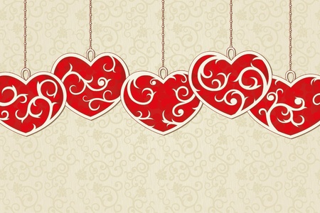 Vintage background with elegant  red hearts and seamless background