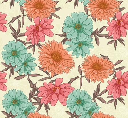 Floral seamless pattern with hand drawn flowers Stock Vector - 11840418
