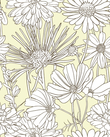 Floral seamless pattern with hand drawn flowers Vector
