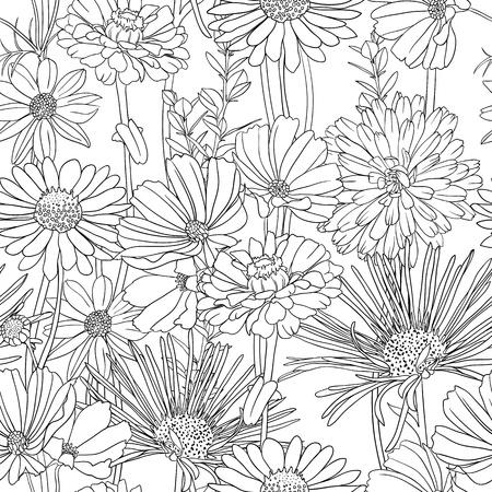 손으로 그린 꽃과 검은 색과 흰색 꽃 원활한 패턴 일러스트
