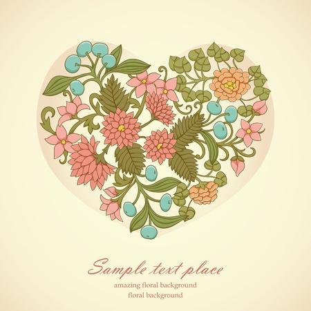 Bloemen hart met hand getrokken bloemen, bladeren en bessen