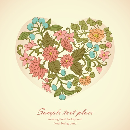 Floral heart with hand drawn flowers, leafs and berries Vector