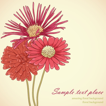Floral background with hand drawn flowers. Lovely colors. Illustration