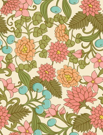 Cute seamless floral pattern with leafs and berries