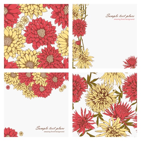 Set of floral backgrounds and seamless patterns Illustration