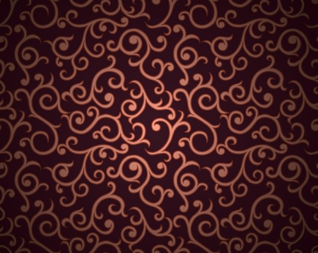grunge shape: Seamless pattern with curls on gradient background in retro style