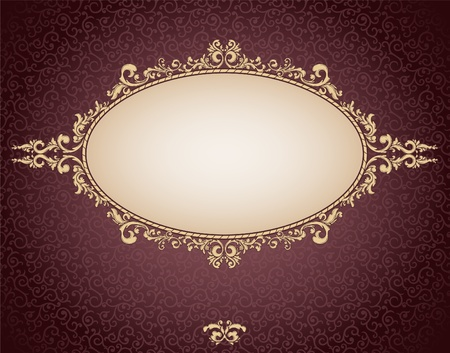 baroque: vintage frame on damask background
