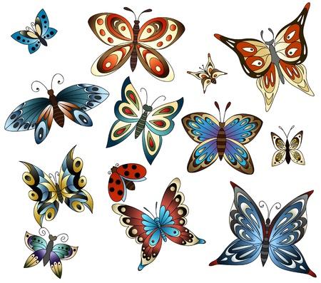 Twelf vlinders geïsoleerd op een witte achtergrond. Lieveheersbeestje als een bonus. Stock Illustratie